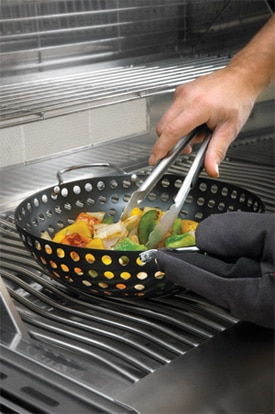 grilling with basket